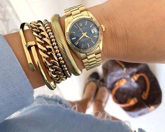 ceas auriu cu bratara dama